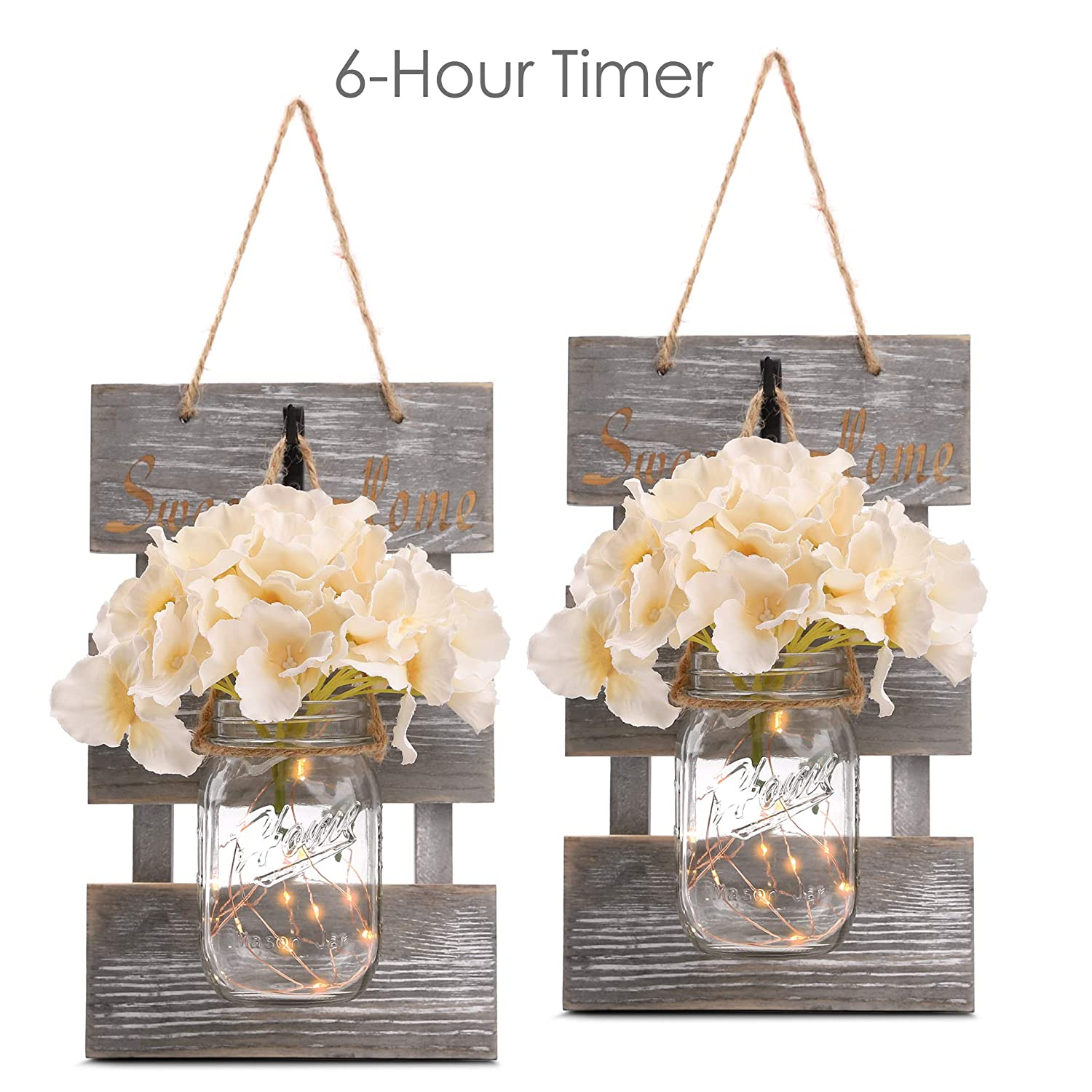 HOMKO Mason Jar Wall Decor with 6-Hour Timer LED Lights and Flowers - Rustic Home Decor (Set of 2)