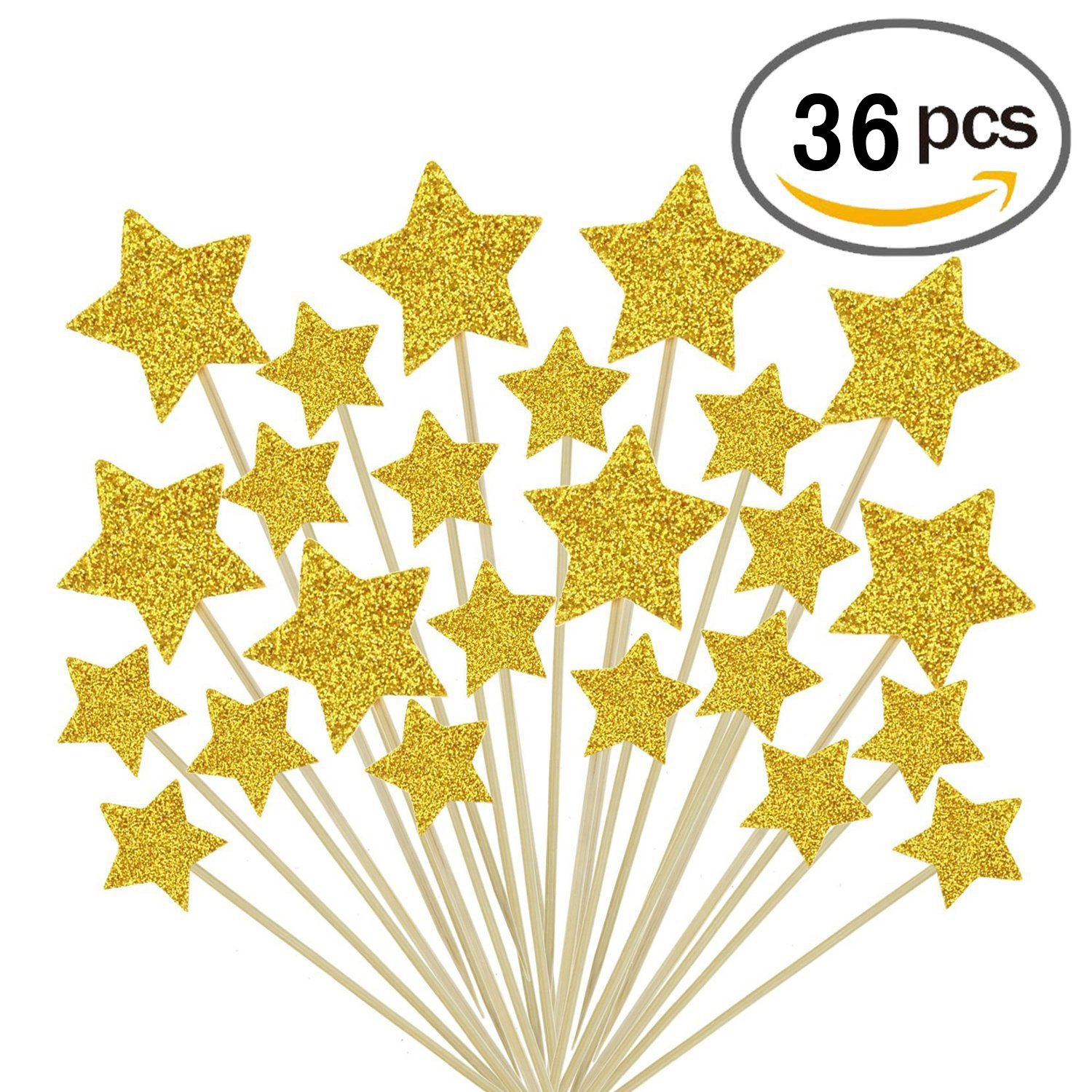 Amazon 36 Pcs Twinkle Gold Star Cupcake Toppers DIY Glitter Mini Birthday Cake Snack Decorations Picks Suppliers Party Accessories For Wedding Baby