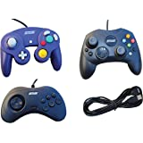 3 USB Classic Controllers - Gamecube, Sega Saturn, Microsoft Xbox (original) for RetroPie, PC, HyperSpin, MAME, NeoGeo FBA Emulator, Raspberry Pi, Odroid Gamepad, with 10' USB Extension Cable!