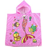 Kids Hooded Beach and Bath Towel 100% Cotton Swimsuit Coverup Swimming Poncho Towel Multi-use for Pool/Shower/Bath
