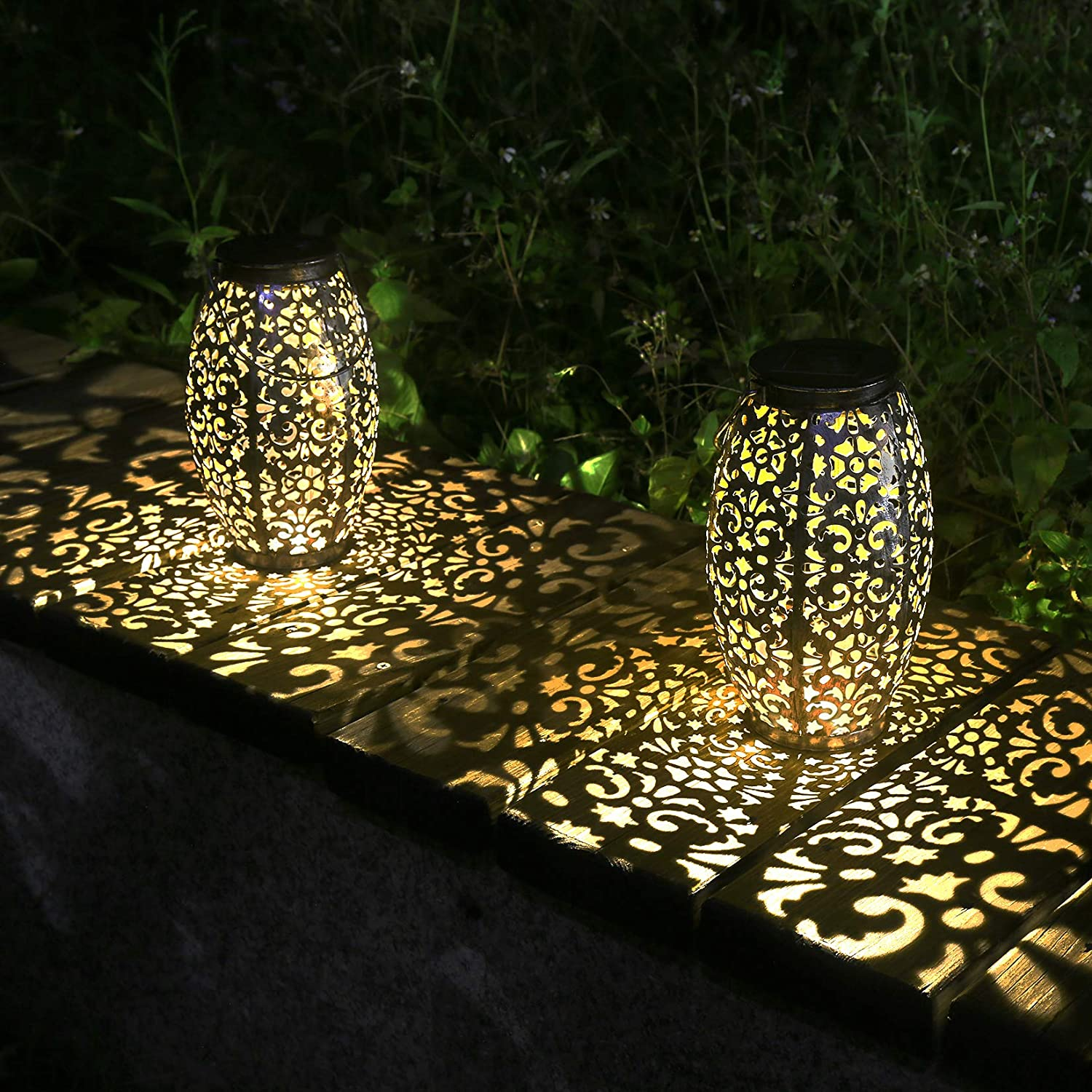 Kaixoxin 2 Pack Solar Lantern Lights for Hanging or Table Outdoor Solar Light for Patio Courtyard Garden (Silver-2pack)