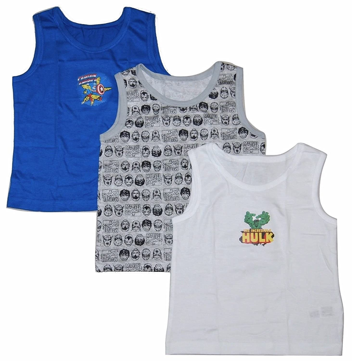 Boys 3 Pack Vest Tops Marvel Comics Hulk & Captain America