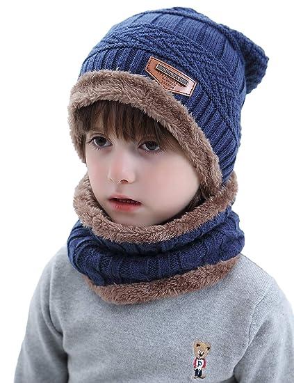 Aibrou Cappello Ragazzo Inverno 3-12 Anni Berretto Sciarpa Invernale Bambino  2 in 1 Beanie ab649aa3655f