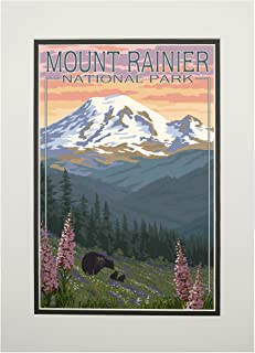 product image for Mount Rainier National Park, Washington - Bear and Cubs with Flowers (11x14 Double-Matted Art Print, Wall Decor Ready to Frame)