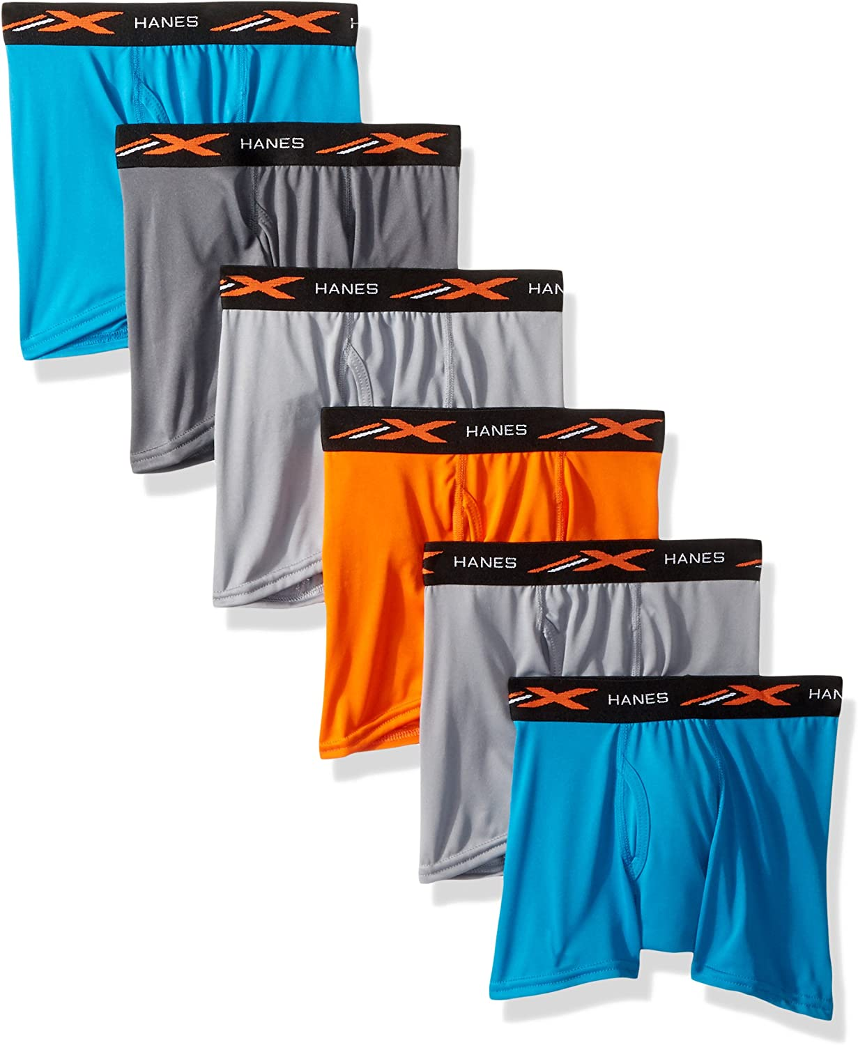 Hanes Boys X-Temp Performance Cool Dyed Boxer Brief 6-Pack