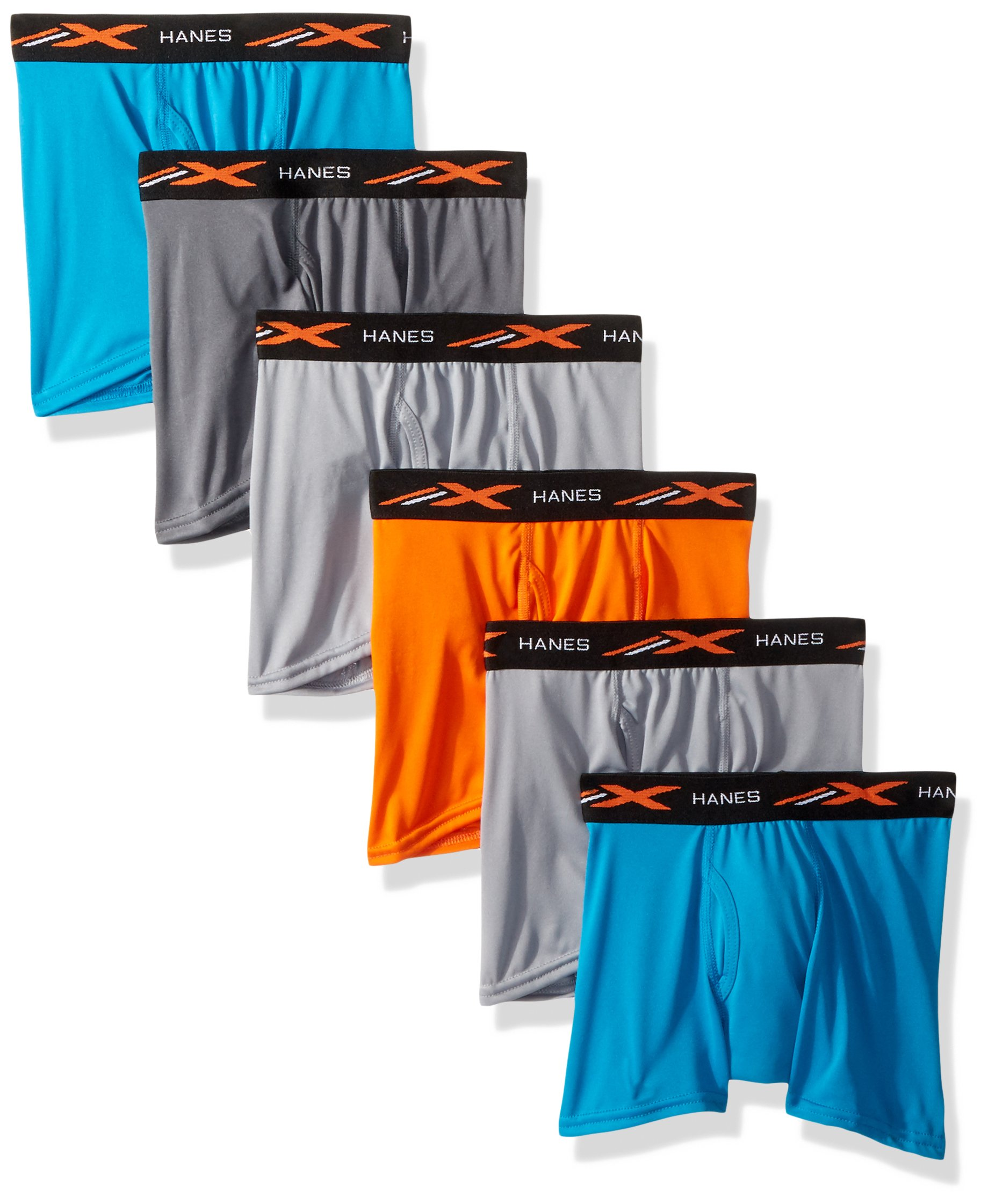 Hanes Big Boys' X-Temp Performance Cool Dyed Boxer Brief 6-Pack, Assorted, Large