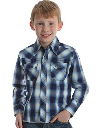 ac20cc07 Wrangler Boys Long Sleeve Western Blue & Black Plaid Snap Shirt (X-Large)