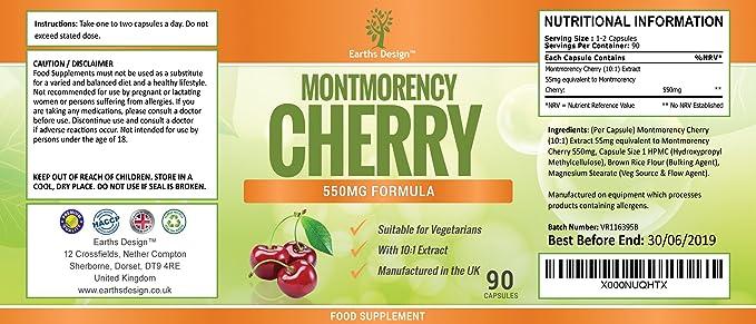 Cápsulas de Cereza de Montmorency - Extracto de Alta Concentración 10:1 - Para Hombres y Mujeres - Apto Para Vegetarianos - 90 Cápsulas (Suministro Para 3 ...