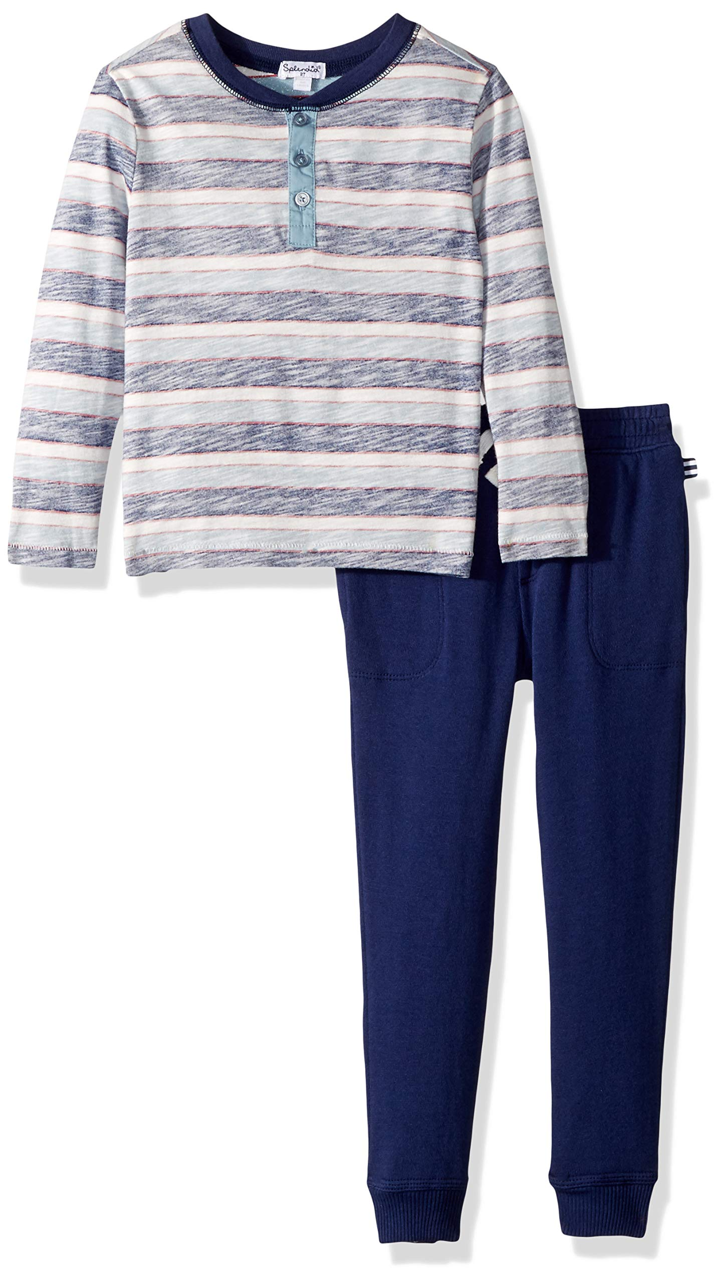 Splendid Toddler Boys' Reverse Stripe Long Sleeve Set, Indigo Sky, 2T