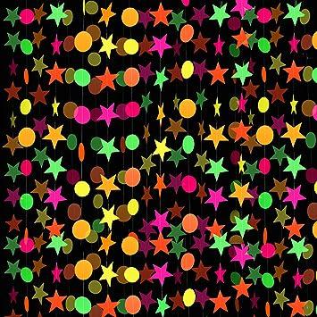 8 Piezas Guirnalda de Papel de Neón Guirnalda de Puntos Circulares Decoraciones Colgantes de Guirnaldas de Estrellas de Neón para Cumpleaños Boda Negro Luz Reactivo UV Resplandor Fiesta: Amazon.es: Juguetes y juegos