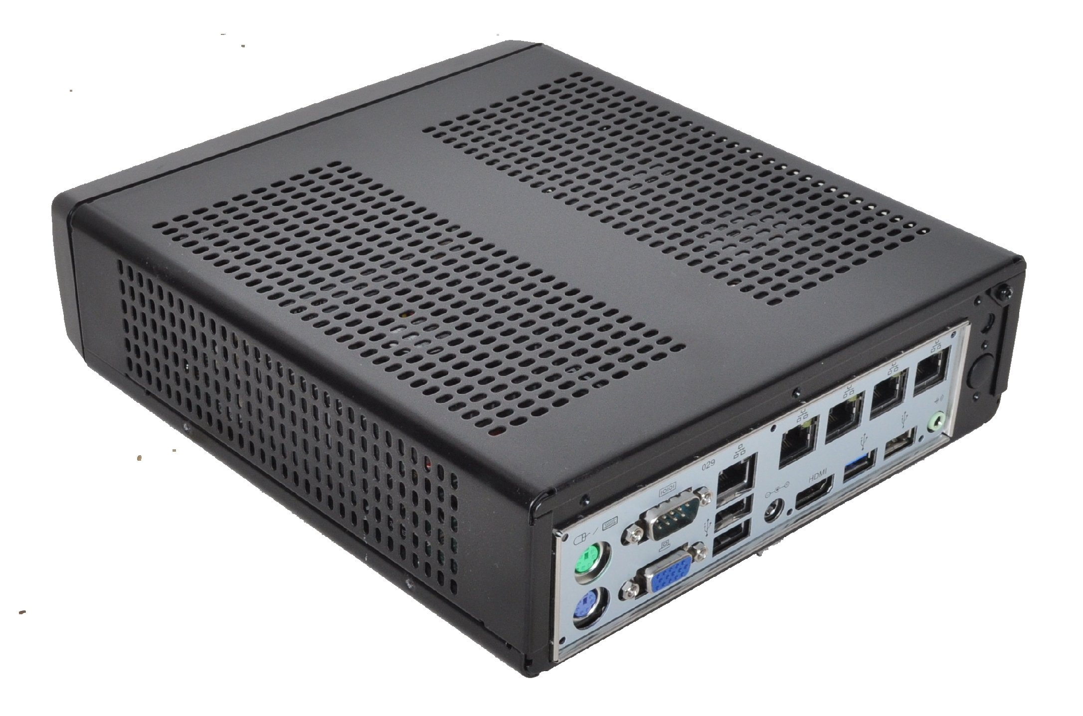 Mini ITX pfSense Firewall with 7.5W Quad Core 1.83Ghz Celeron CPU, 5x GBe NIC's, 64Gb SSD, 4Gb DDR3 RAM, Pre-Loaded with 64 bit pfSense 2.2 by Mobile Computing Solutions