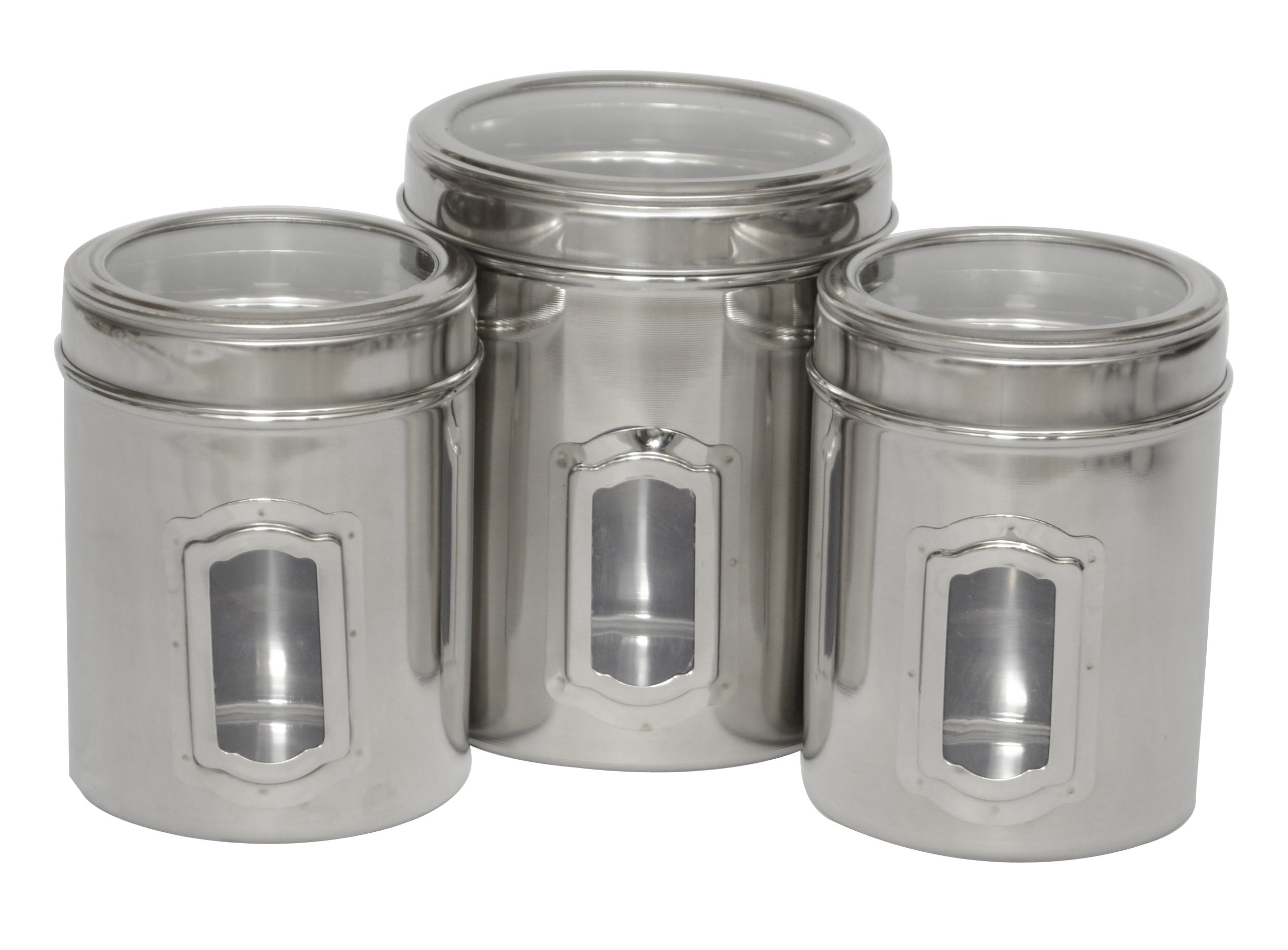 Iconic Pet Different Sizes of Canister with See Through Lids (Set of 3) by Iconic Pet