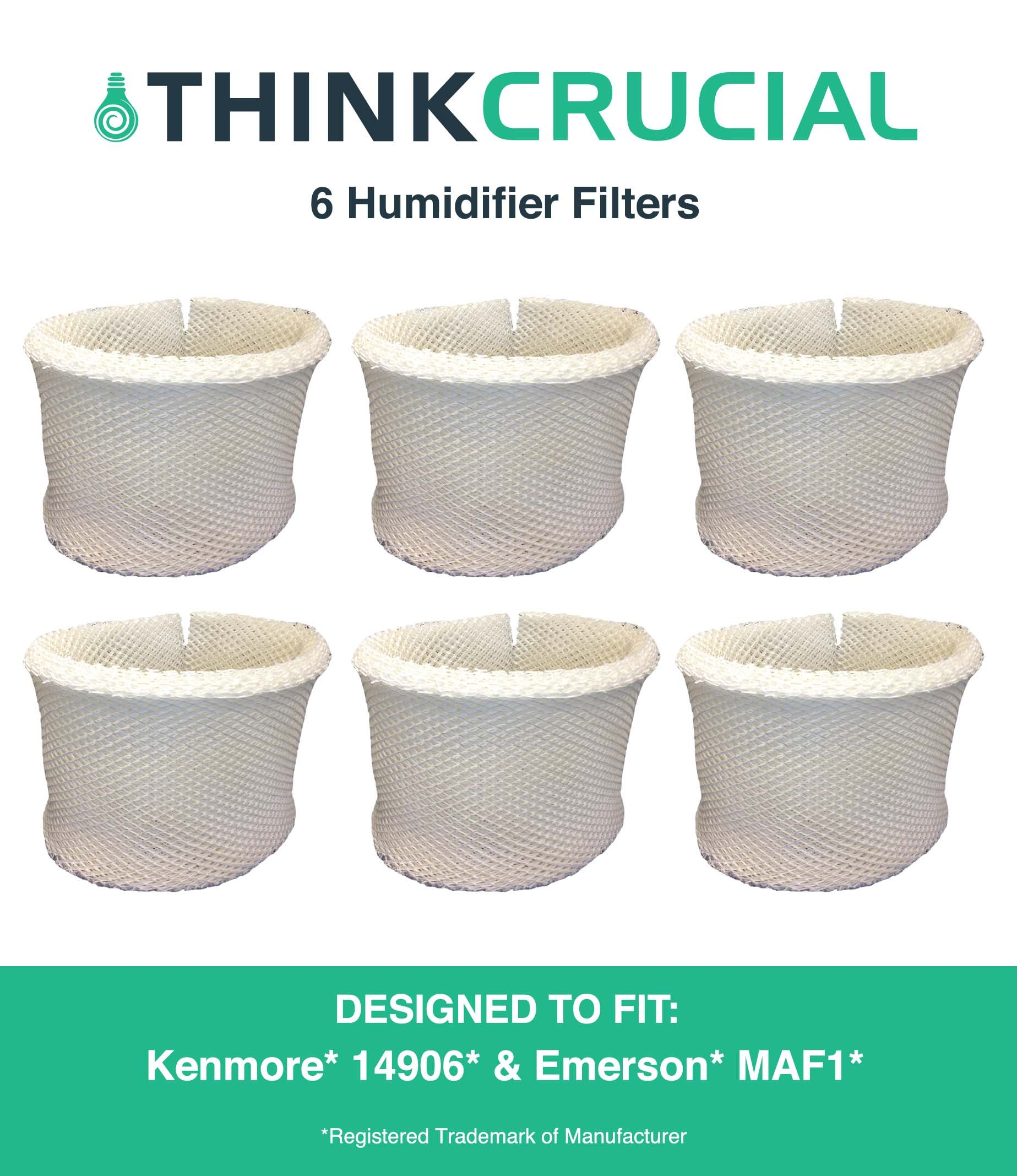 Think Crucial 6 Replacements for Kenmore 14906 EF1 & Emerson MAF1 Humidifier Wick Filter Fits 14410, 14411, 14906, 15412, 29979, 29980, 29981, 29982, 144105, 144106, Compatible With Part # 42-14906 by Crucial Air