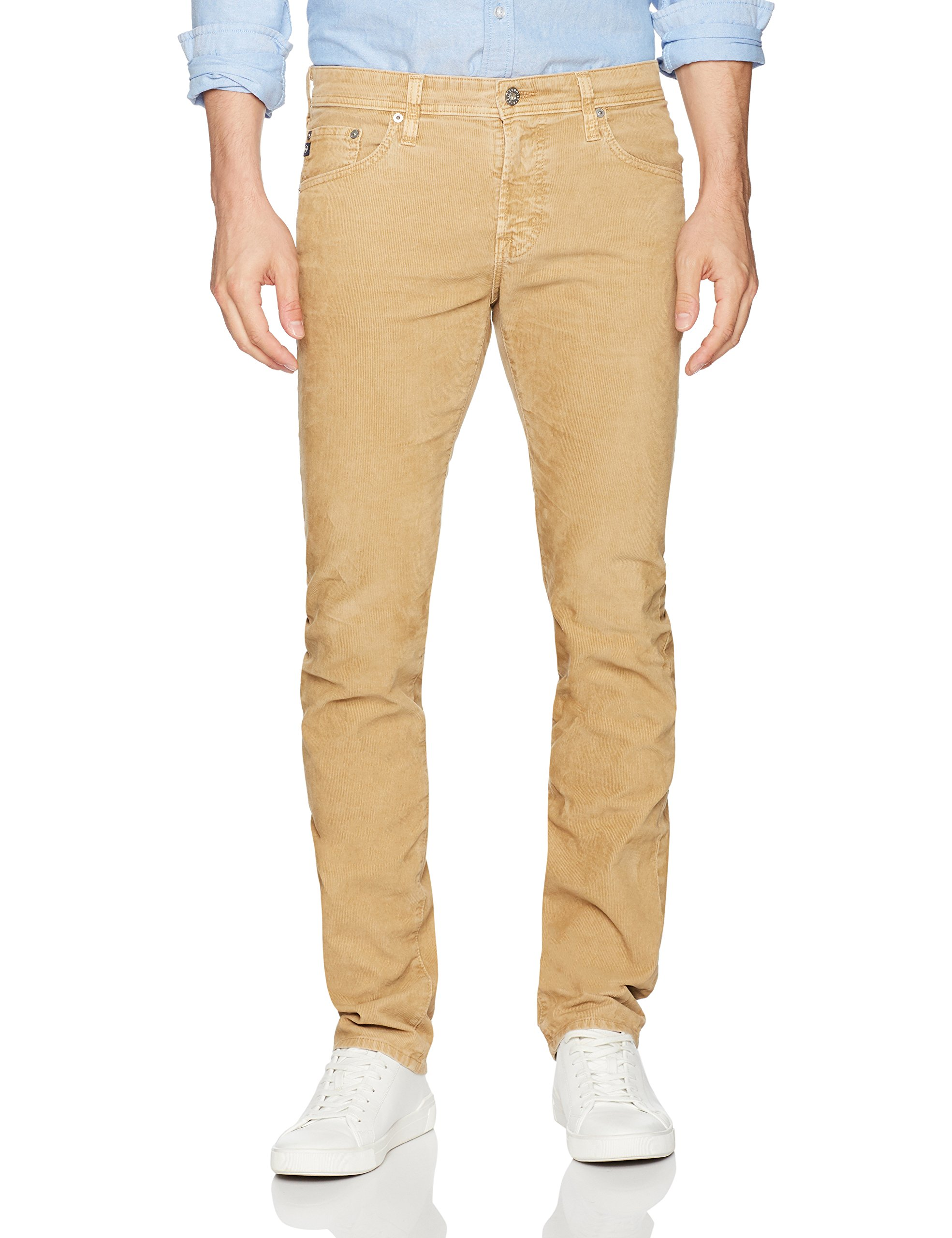AG Adriano Goldschmied Men's Matchbox Slim Straight Leg Corduroy, Silica Sand, 31