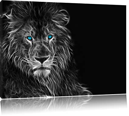 Dark Abstract Lion Black White Size 80x60 On Canvas Huge Xxl Pictures Completely Framed With Stretcher Art Print On Mural With Frame Cheaper