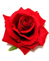 Red Rose Velvet Hair Flower Clip
