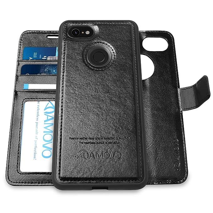 best service b888e ad57d [Upgraded Version] AMOVO Pixel 3 XL Wallet Case [2 in 1] [Wireless Charger]  Google Pixel 3 XL Case Wallet Detachable [Vegan Leather] Pixel 3 XL Flip ...