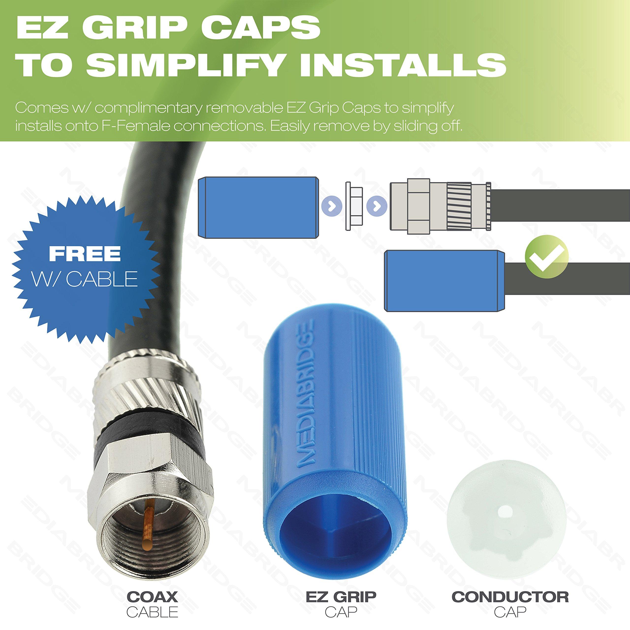 Mediabridge Coaxial Cable (100 Feet) with F-Male Connectors - Tri-Shield CL2 RG6 - Removable EZ Grip Caps ( CJ100-6BF-N1 ) by Mediabridge (Image #3)
