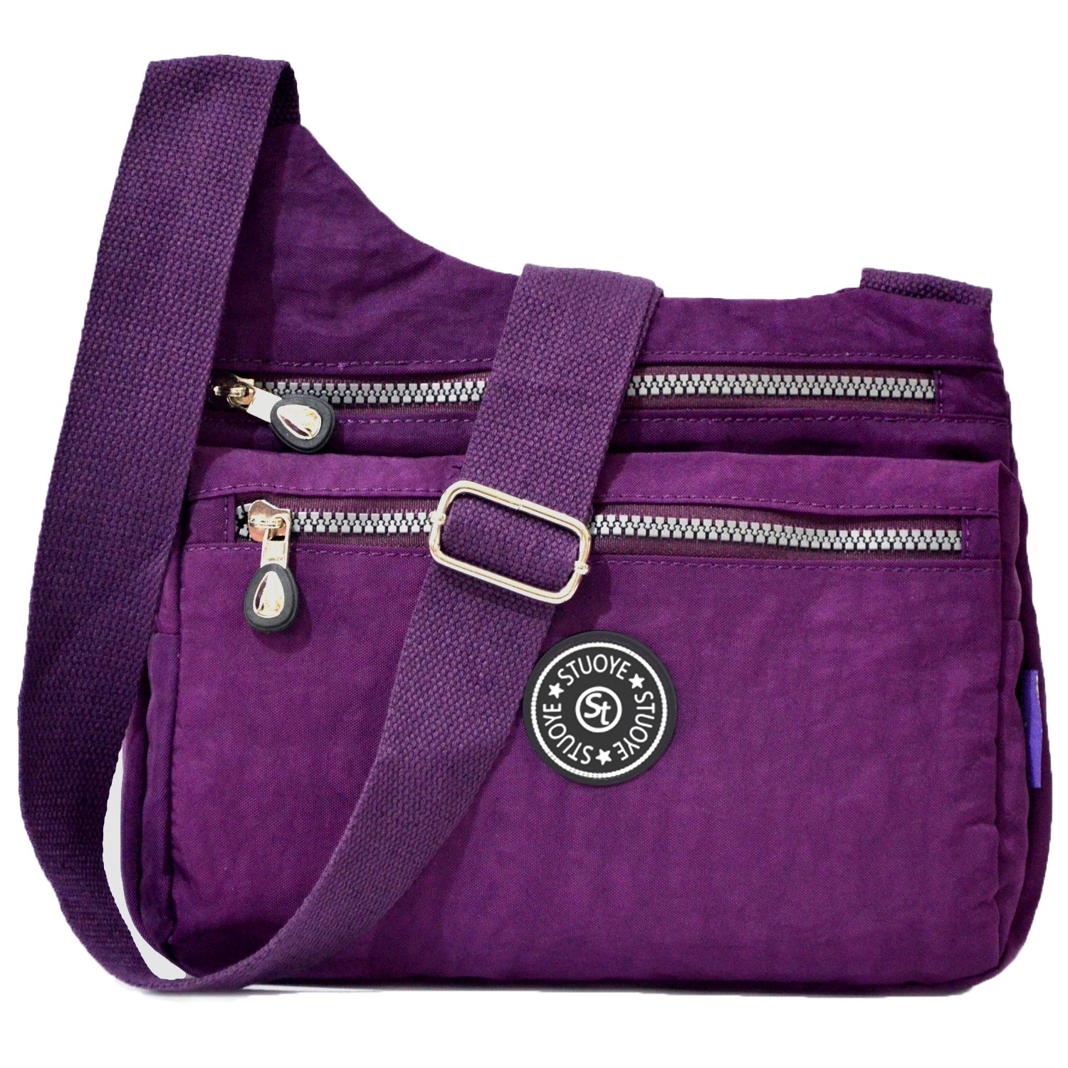 STUOYE Nylon Multi-Pocket Crossbody Purse Bags for Women Travel Shoulder Bag (Z187 Purple)