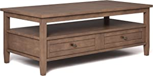 SIMPLIHOME Warm Shaker SOLID WOOD 48 inch Wide Rectangle Rustic Coffee Table in Rustic Natural Aged Brown with Storage, 2 Drawers and 1 Shelf, for the Living Room, Family Room