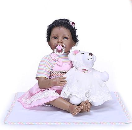 "22/"" Reborn Baby Lifelike Black African American Silicone Vinyl Smile Girl Doll"