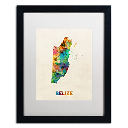 Belize Watercolor Map by Michael Tompsett, White Matte, Black Frame 16×20-Inch