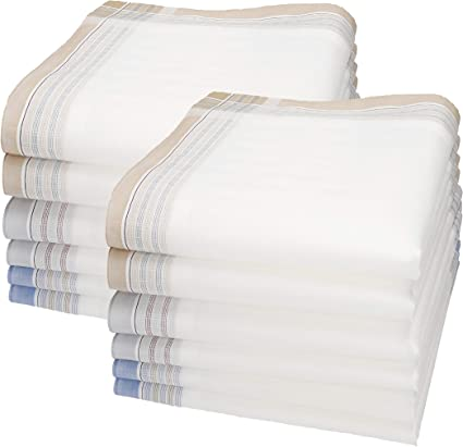 Betz Juego de pañuelos de tejido LORD 1 para caballeros 100% algodón 45x45 cm diseño 60 Color blanco 12 piezas: Amazon.es: Ropa y accesorios