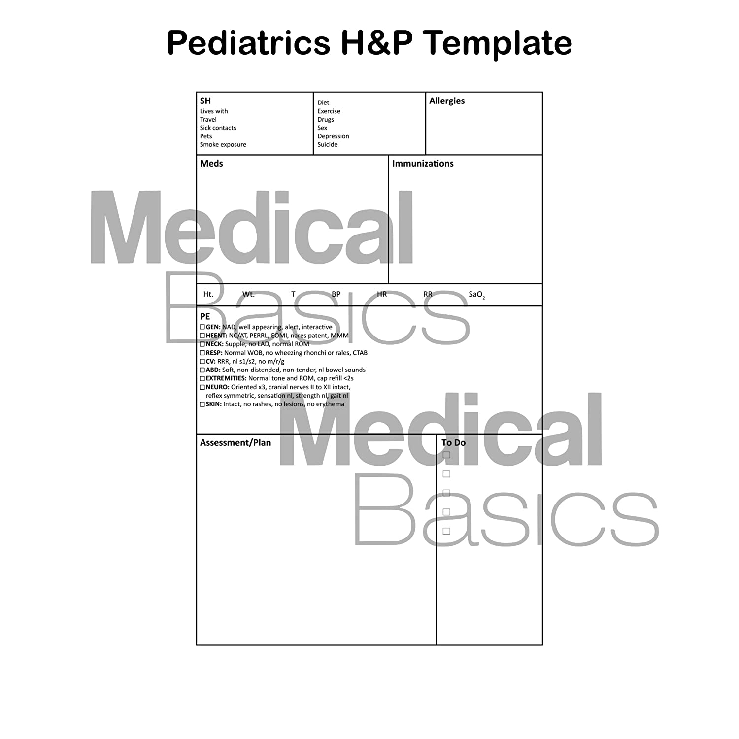 Amazon Pediatrics HP Notebook Medical History And Physical 100 Templates With Perforations Office Products