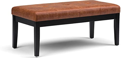 Simpli Home Lacey 43 inch Wide Rectangle Ottoman Bench Distressed Saddle Brown Tufted Footrest Stool, Faux Air Leather for Living Room, Bedroom, Contemporary Modern