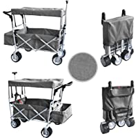GREY PUSH AND PULL HANDLE FOLDING STROLLER WAGON OUTDOOR BEACH SPORT COLLAPSIBLE BABY TROLLEY W/ CANOPY GRAY GARDEN UTILITY SHOPPING TRAVEL CART - FREE ICE COOLER BAG - EASY SETUP NO TOOL NECESSARY