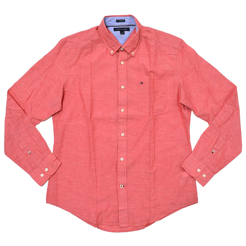 Tommy Hilfiger Mens Cotton Linen Buttondown Shirt At Amazon Mens