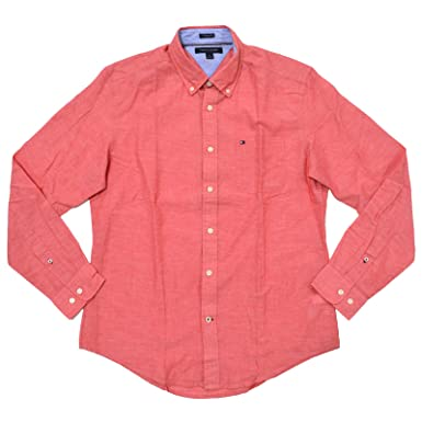 Tommy Hilfiger Men's Solid Long Sleeve Linen Shirt