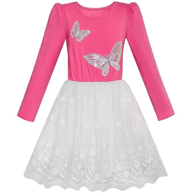 LV65 Sunny Fashion Vestido para niña Rosa Rosa Largo Manga Mariposa Encaje Tutu 10 años