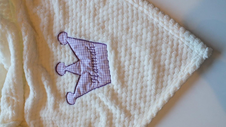 Decke mit Krone und Namen bestickt 75 x 100 cm Kuschlige Jungen Babydecke,Kuscheldecke