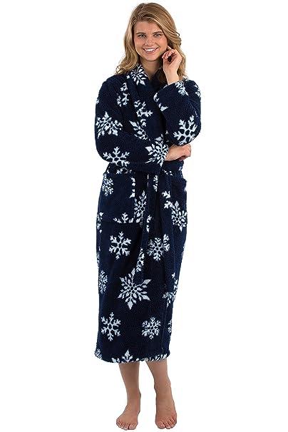 34ddfc6b95 VEAMI Women s Warm Microfiber Fleece Bathrobe-Winter Night-Small ...