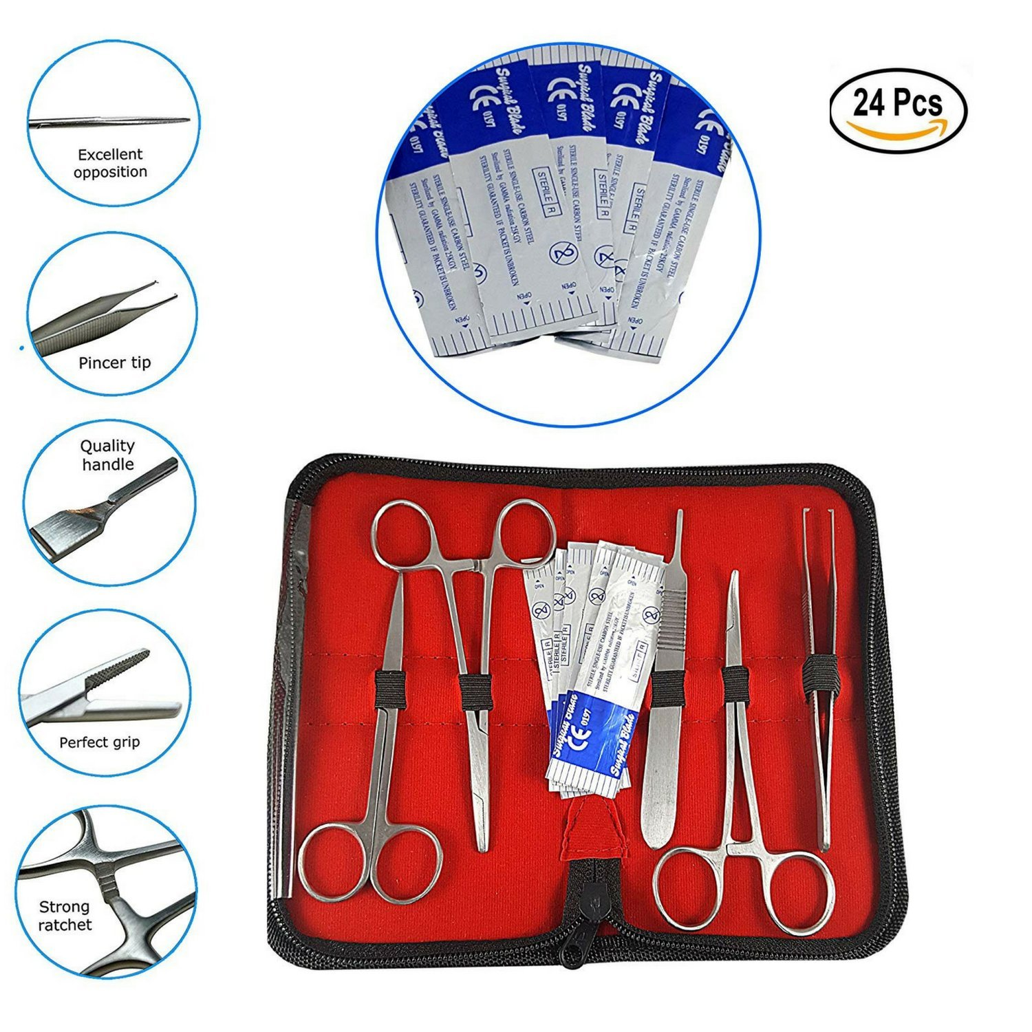 Suture Kit with Needles - Suture Practice Kit Includes Suture Pad,Sterile Sutures,Needle Driver|24 Piece|Stitch kit for Anatomy & Science Classes,Veterinary Students Hospital Training Kit, Nurses