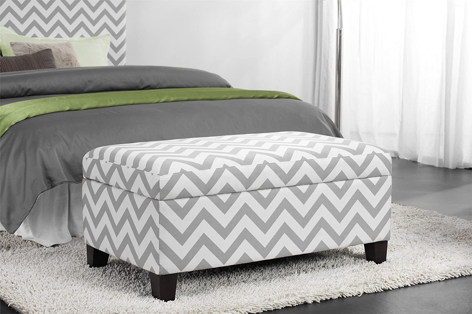 Amazon.com: Dorel Living Chevron Storage Ottoman: Kitchen & Dining