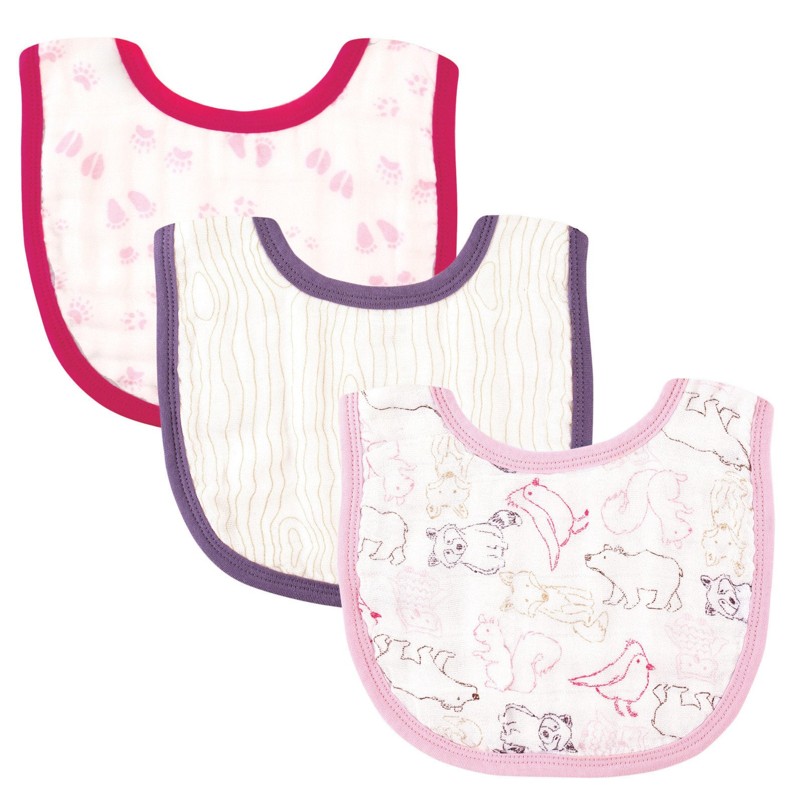 Touched by Nature Girl's Organic Muslin Bib, Pink Woodland