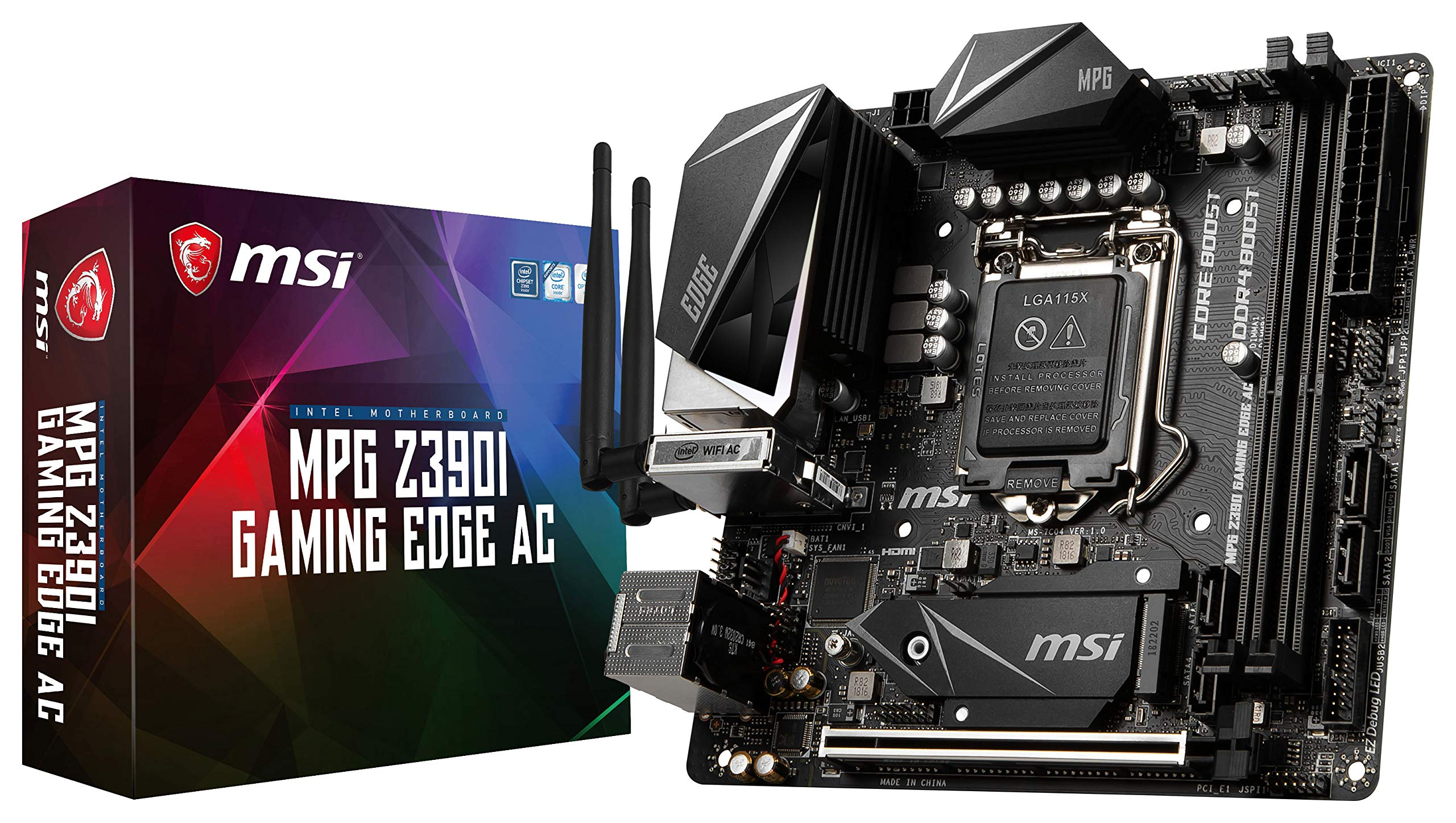 MSI MPG Z390I Gaming Edge AC LGA1151 (Intel 8th and 9th Gen) M.2 USB 3.1 Gen 2 DDR4 HDMI DP Wi-Fi Mini ITX Z390 Gaming Motherboard
