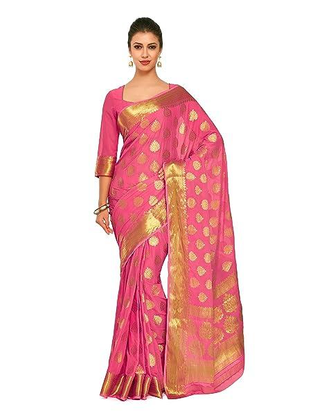 8422d764788ff9 Mimosa Art Chiffon silk saree Kanjivarm Pattu style With Running Color  Pink  (4248-2165-SD-GAJJ)  Amazon.in  Clothing   Accessories