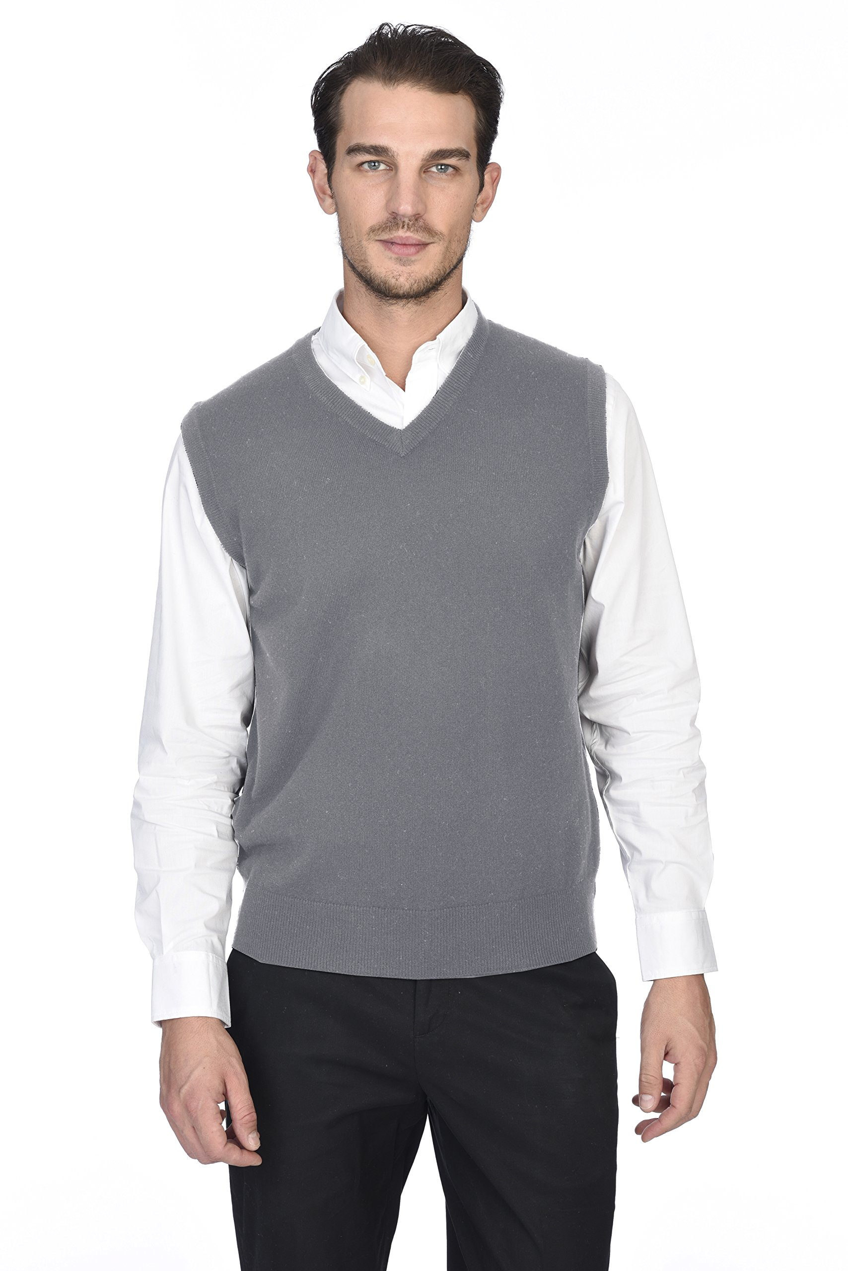 State Cashmere Men's 100% Pure Cashmere Regular Fit Pullover Casual Sweater Vest