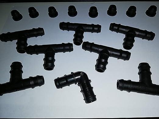 Ferritalia-Kit de accesorios para sistemas de riego por goteo con peine para 8 filas: Amazon.es: Jardín