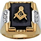 Men's Genuine Black Onyx and Crystal Two-Tone Masonic Ring 14k Gold-Plated