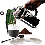 French Press Coffee Maker Pot Carafe and Presser Plus Bonus Metal Scoop/Bag Clip, Java Spoon and 4 Stainless Steel Filter Screens | Double Filtration Plunger | Value Bundle by Chef Amore | 1 Liter