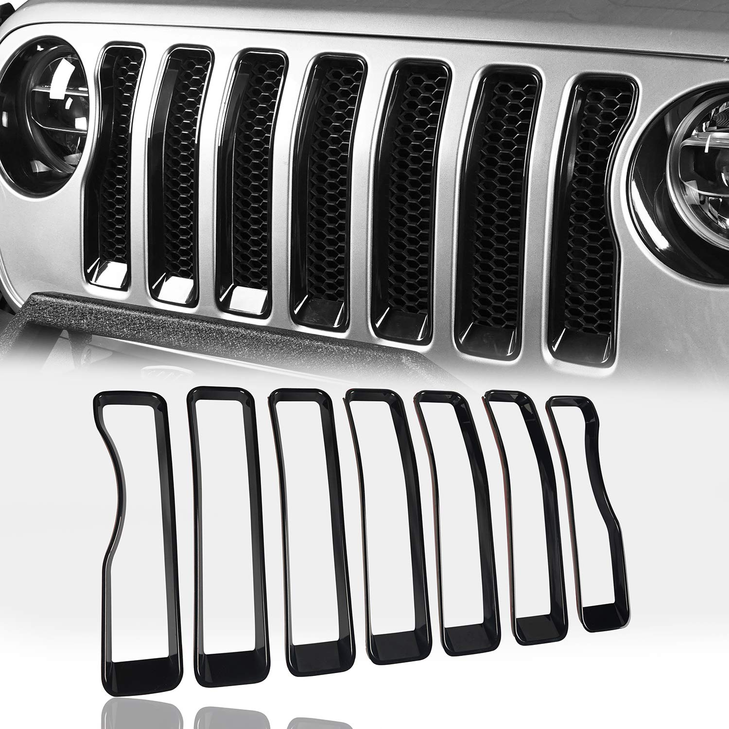 Hooke Road Bright Red Mesh Grille Inserts Front Grill Bug Screen Deflector for 2018 2019 Jeep Wrangler JL Sport//Sport S