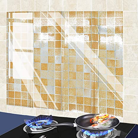 Amazon Com Lixiongbao 2 Pack Oil Proof Wall Sticker Wallpaper Kitchen Backsplash Wall Protector High Temperature Resistant Self Adhesive Sticker Mosaic Waterproof Oilproof Paper For Kitchen Cupboard Household Home Kitchen
