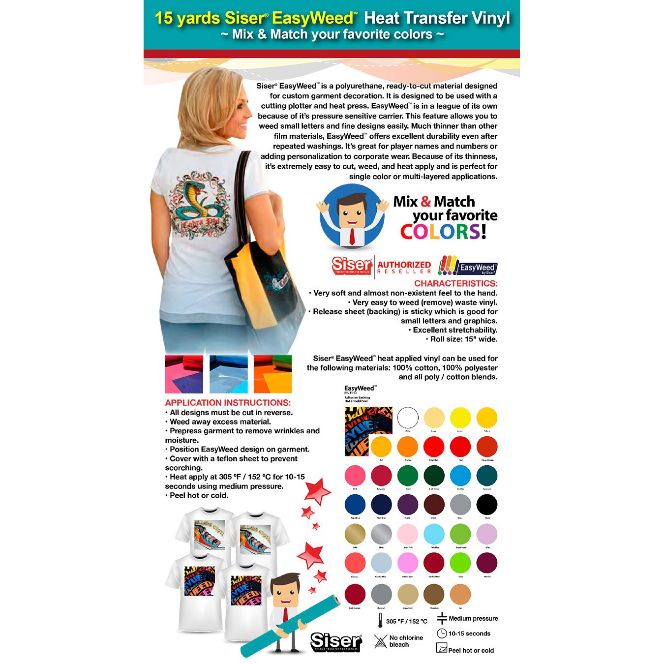 GERCUTTER Store - 15 Yards SISER EASYWEED 15'' Heat Transfer Vinyl (Mix & Match your favorite colors) by GERCUTTER USA