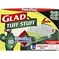 Glad Tuff Stuff Drawstring Garbage Bags, 20 count