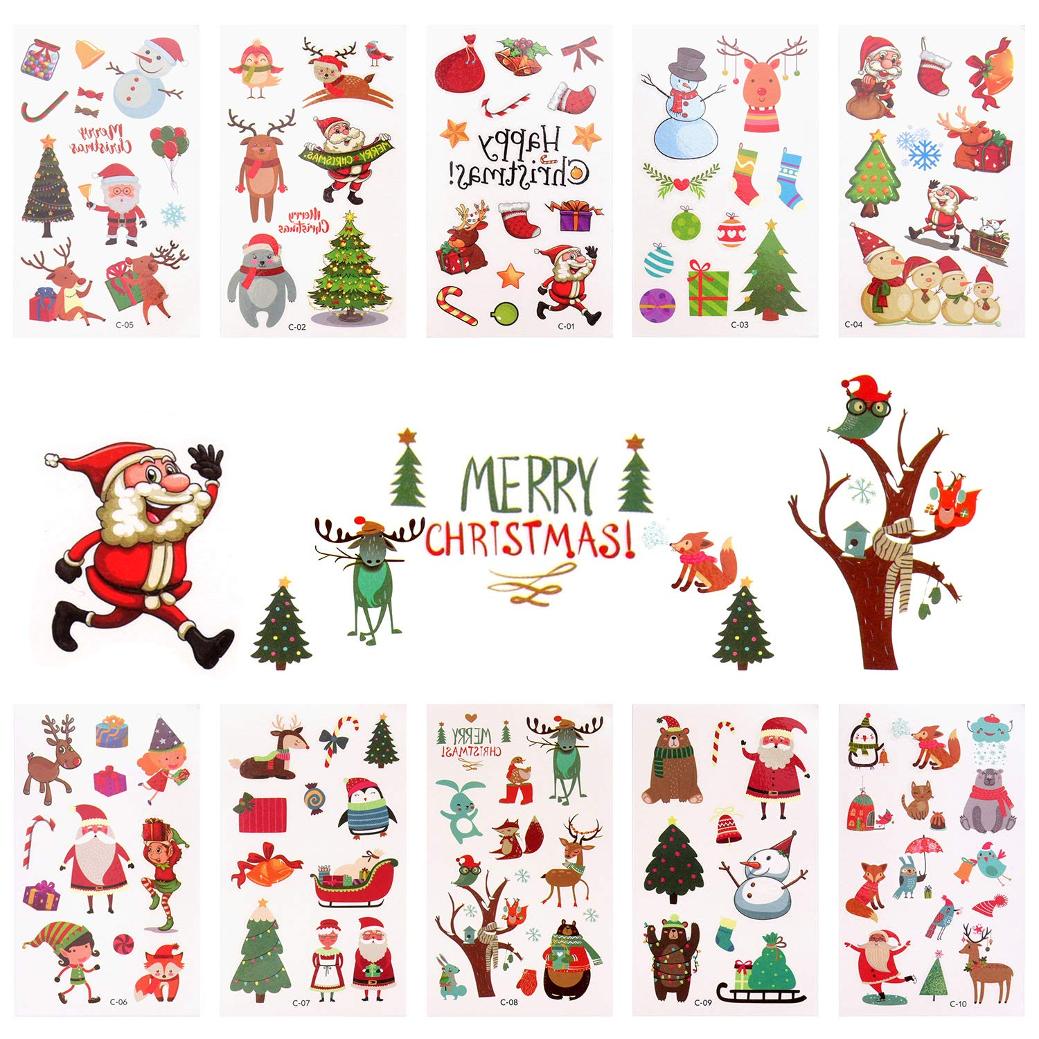 Christmas Temporary Tattoos Stickers,Christmas Decorations with Santa Christmas Snowman Snowflake Bell Gift Bags for Kids Christmas Party (10 sheet)