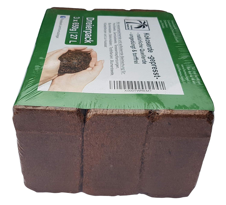 Humus ladrillo 3 x 650 g, 27 litros Coco Flores Tierra | Tierra para macetas de Fibra de Coco | de Tierra de Coco para Sus Plantas | para Bancal Verduras ...